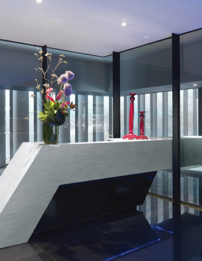 Marble desk in reception area